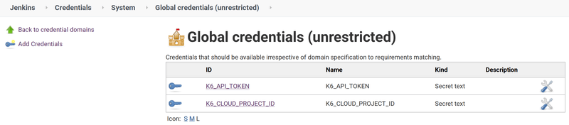 Jenkins Credentials for k6 API Token