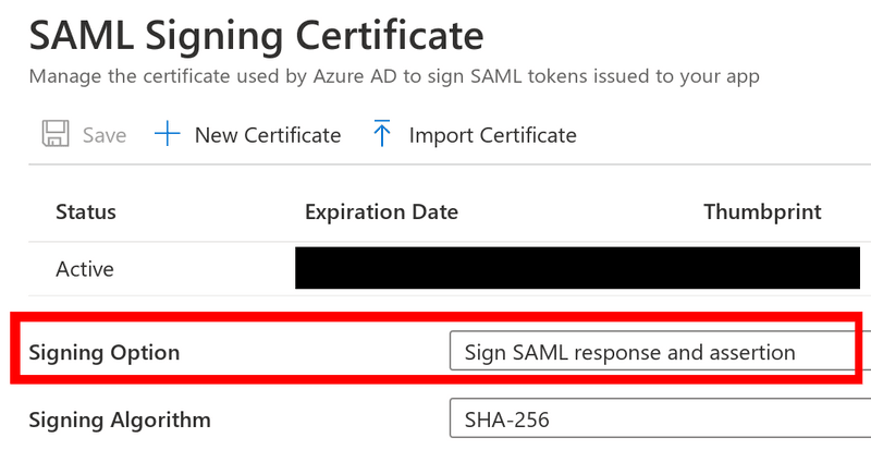 Azure AD SAML Signing Certificate's signing option